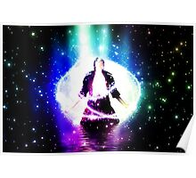 Colorful background with 3d man Poster