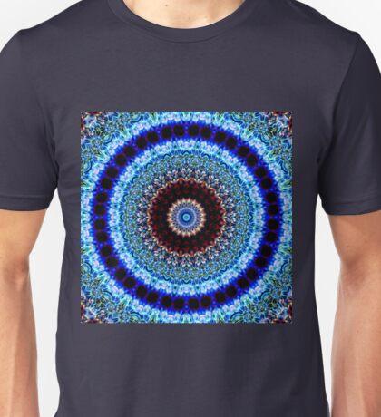 Magic Ripples Kaleidoscope Mandala - Blue Unisex T-Shirt