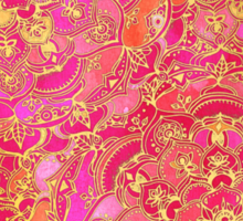 Hot Pink and Gold Baroque Floral Pattern Sticker