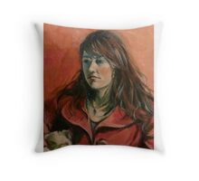 'Georgie: a study in red' 2011 Oil on canvas Throw Pillow