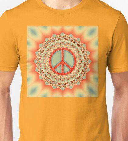Lotus Flower Peace Mandala - Red + Ice Blue Unisex T-Shirt