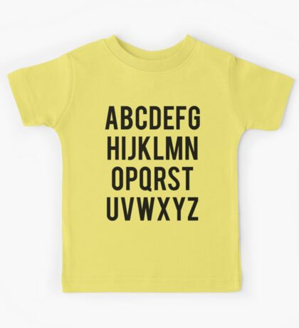 Alphabet, typography Kids Tee