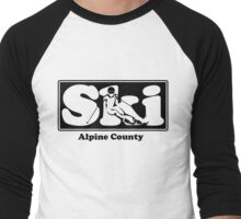 Alpine County SKI Graphic for Skiing your favorite mountain, city or resort town Men's Baseball ¾ T-Shirt