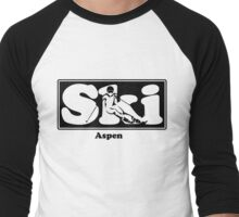 Aspen Colorado SKI Graphic for Skiing your favorite mountain, city or resort town Men's Baseball ¾ T-Shirt