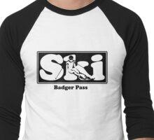 Badger Pass SKI Graphic for Skiing your favorite mountain, city or resort town Men's Baseball ¾ T-Shirt