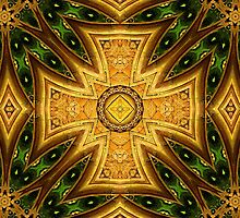 Maltese-Celtic Combo Stained-Glass Window Mandala by Richard H. Jones