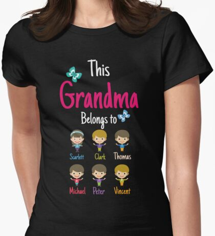 This Grandma belongs to Scarlett Clark Thomas Michael Peter Vincent Womens Fitted T-Shirt