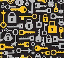 Keys and locks on a black by Alexzel