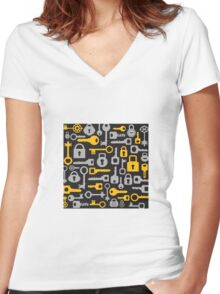 Keys and locks on a black Women's Fitted V-Neck T-Shirt