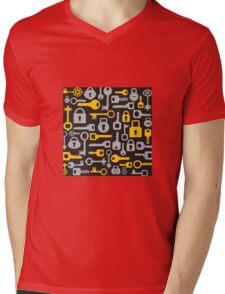Keys and locks on a black Mens V-Neck T-Shirt