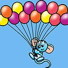 HeinyR- Blue Mouse with Balloons by cadellin