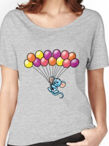 HeinyR- Blue Mouse with Balloons Women's Relaxed Fit T-Shirt