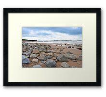 desolate rocky beal beach Framed Print