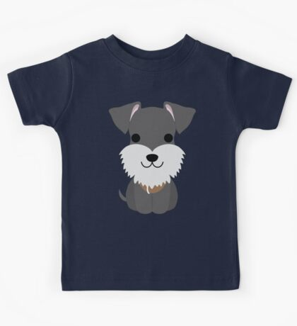 Schnauzer Dog Emoji Happy Smiling Face Kids Tee