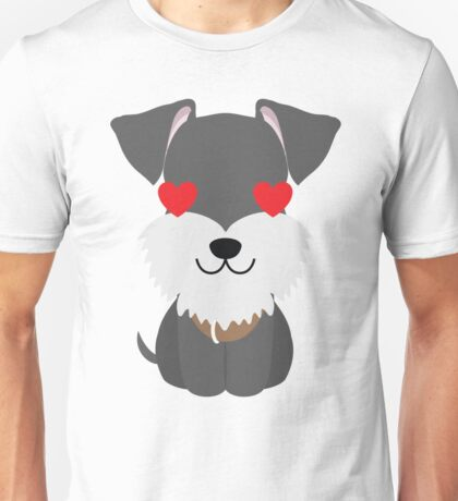 Schnauzer Dog Emoji Heart and Love Eyes Unisex T-Shirt