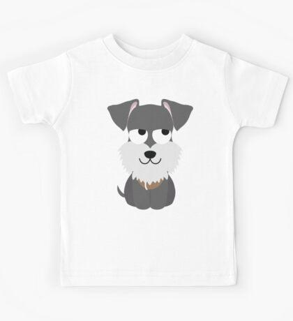 Schnauzer Dog Emoji Thinking Hard and Hmm Look Kids Tee