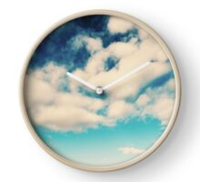 White Soft Clouds On Blue Turquoise Sky Clock