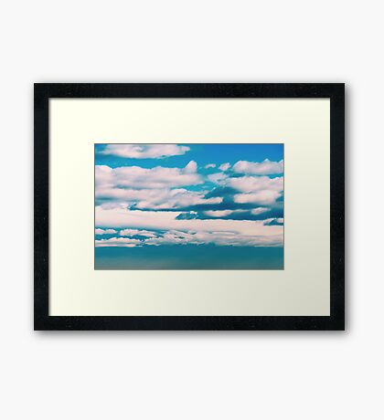 White Soft Clouds On Blue Turquoise Sky Framed Print