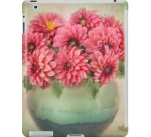 Beautiful Pink Dahlia's in a Green Vase iPad Case/Skin