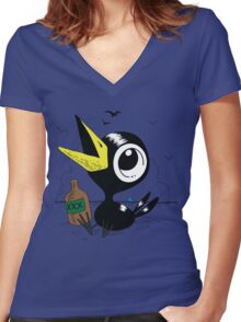 Drinky Crow! DOOK DOOK DOOK! Women's Fitted V-Neck T-Shirt