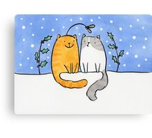 Christmas Cats and a Mistletoe Hat Canvas Print