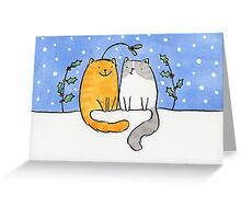 Christmas Cats and a Mistletoe Hat Greeting Card
