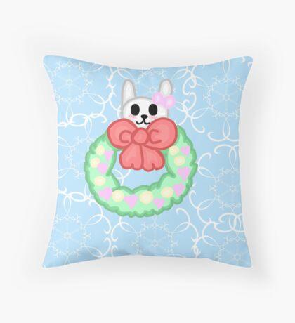 Kawaii Christmas Wreath Throw Pillow