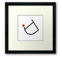 Stick figure of bow yoga pose. Framed Print