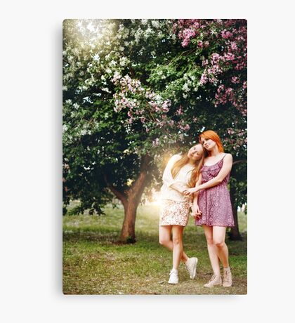 Two Young Pretty Girls Outdoors Canvas Print
