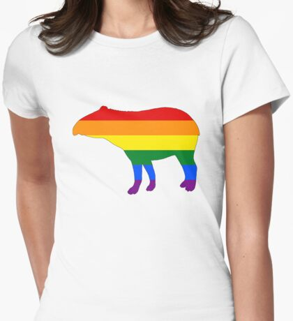 Rainbow Tapir Womens Fitted T-Shirt