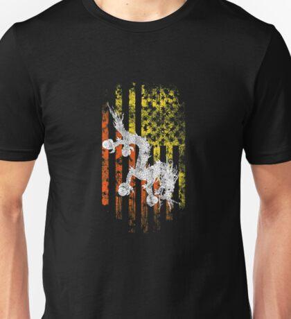 Bhutan and America Flag Combo Distressed Design Unisex T-Shirt