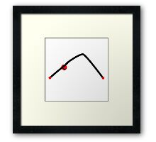 Stick figure of downward dog yoga pose. Framed Print