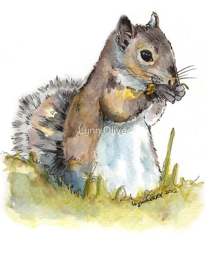Squirrel Tasting a Flower by Lynn Oliver