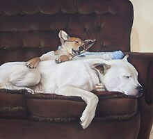 Cute puppy and white dog realist animal art  by pollywolly
