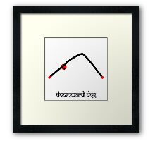 Stick figure of downward dog yoga pose Sanskrit Framed Print