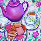 Pink Tea with Roses by marlene veronique holdsworth