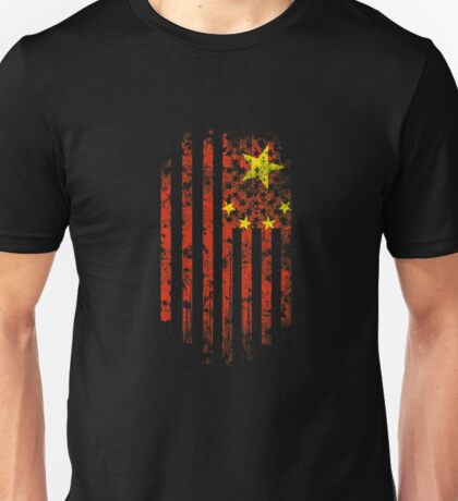 China and America Flag Combo Distressed Design Unisex T-Shirt