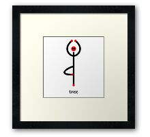 Stick figure of tree yoga pose with Sanskrit text. Framed Print