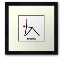 Stick figure of triangle yoga pose with Sanskrit Framed Print