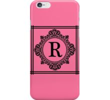 Hot Pink and Black Monogram R iPhone Case/Skin