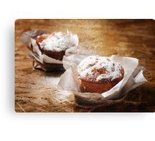 Fresh Baked Muffins Powdering with Sugar Powder  Canvas Print