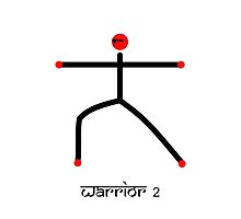 Stick figure of warrior 2 yoga pose & Sanskrit by Mindful-Designs