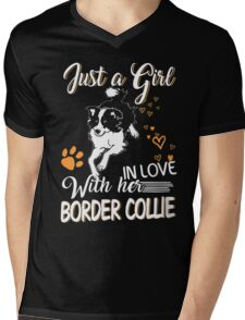 Just Girl In Love With Her Border Collie Mens V-Neck T-Shirt