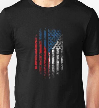 Czech Republic and America Flag Combo Distressed Design Unisex T-Shirt