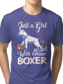 Just Girl In Love With Her Boxer Dog Tri-blend T-Shirt