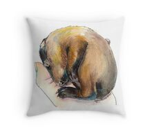 Curled up Baby Groundhog Throw Pillow