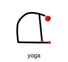 Stick figure of camel yoga pose with yoga text. by Mindful-Designs