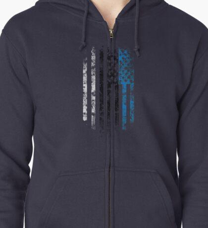 Estonia and America Flag Combo Distressed Design Zipped Hoodie