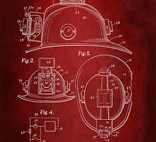 Firefighter Helmet Patent 1965 by Patricia Lintner