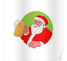 Santa Claus Drinking Beer Drawing Poster